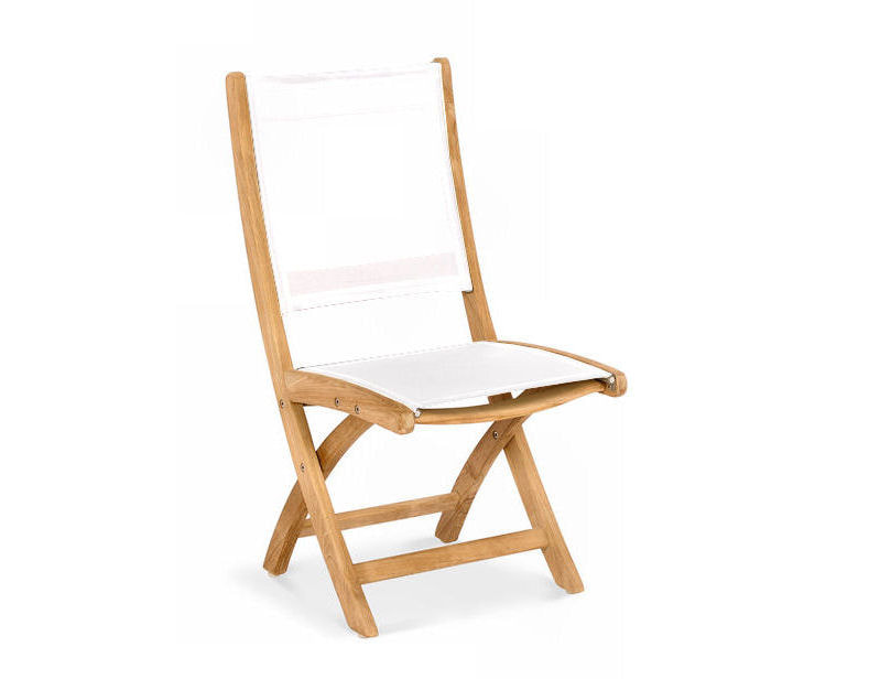 Riviera Folding Teak/Sling Dining Side Chair